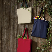 UltraClub® Organic Recycled Cotton Canvas Tote With Contrasting Handles