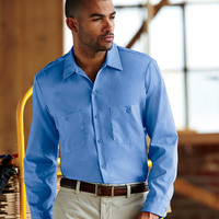 Men's Long-Sleeve Industrial Poplin Work Shirt