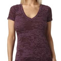 Ladies' Burnout Deep V Tee