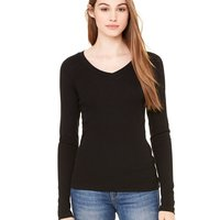Ladies' Sheer Mini Rib Long Sleeve V-Neck T-Shirt
