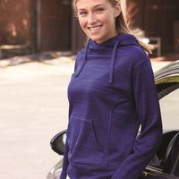 Women's Striped Poly Fleece Lapover Hooded Sweatshirt